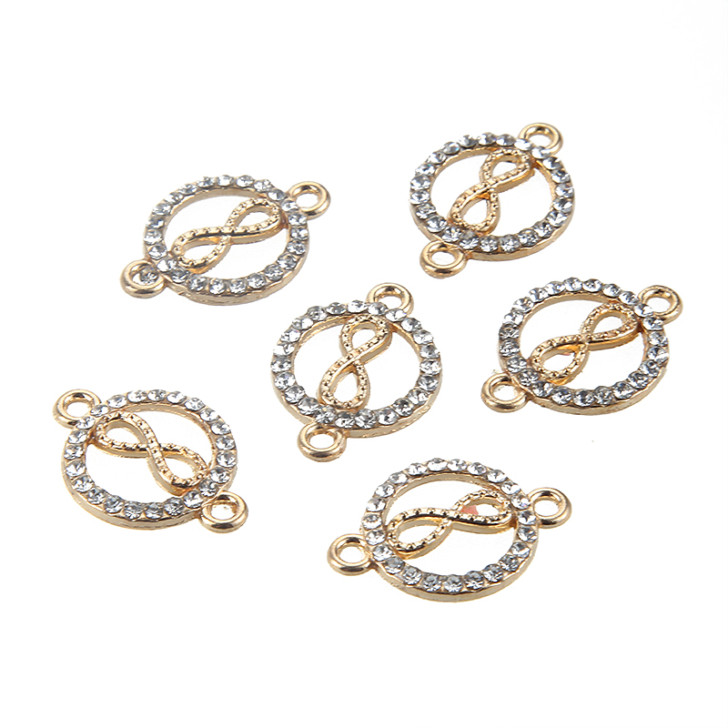10Pcs Wing Moon Shapes Gold Rhinestones Crystal Infinity Symbol Connector Charms For DIY Fashion Necklace Bracelets Jewelry