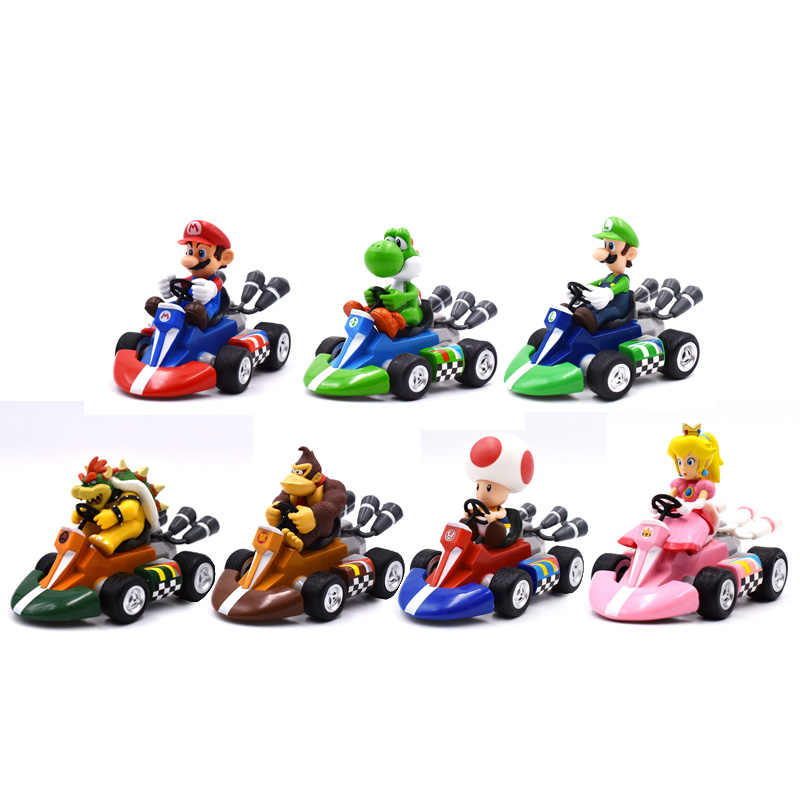 7 pçs/lote Anime Super Mario Bros Kart Pull Voltar Car Peach Toad Luigi Donkey Kong PVC Action Figure Collectible Modelo Toy Boneca