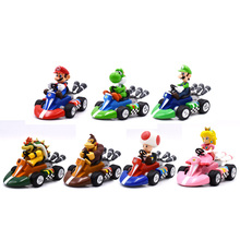 цены на 7 pcs/lot Anime Super Mario Bros Kart Pull Back Car Donkey Kong Peach  Toad  Luigi PVC Action Figure Doll Collectible Model Toy  в интернет-магазинах