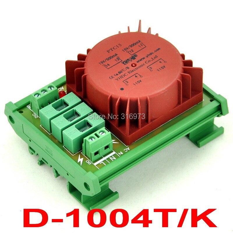 P 230VAC, S 2x 15VAC, 15VA DIN Rail Mount Toroidal Power Transformer Module.