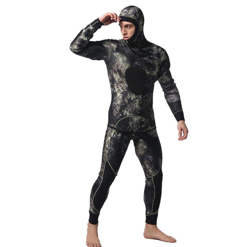 LIFURIOUS 5mm Plongée sous-marine Costumes pour Hommes 2 pièces À Manches Longues Garder Au Chaud Combinaisons Chasse Sous-Marine Rash Guards Surf Maillots de Bain