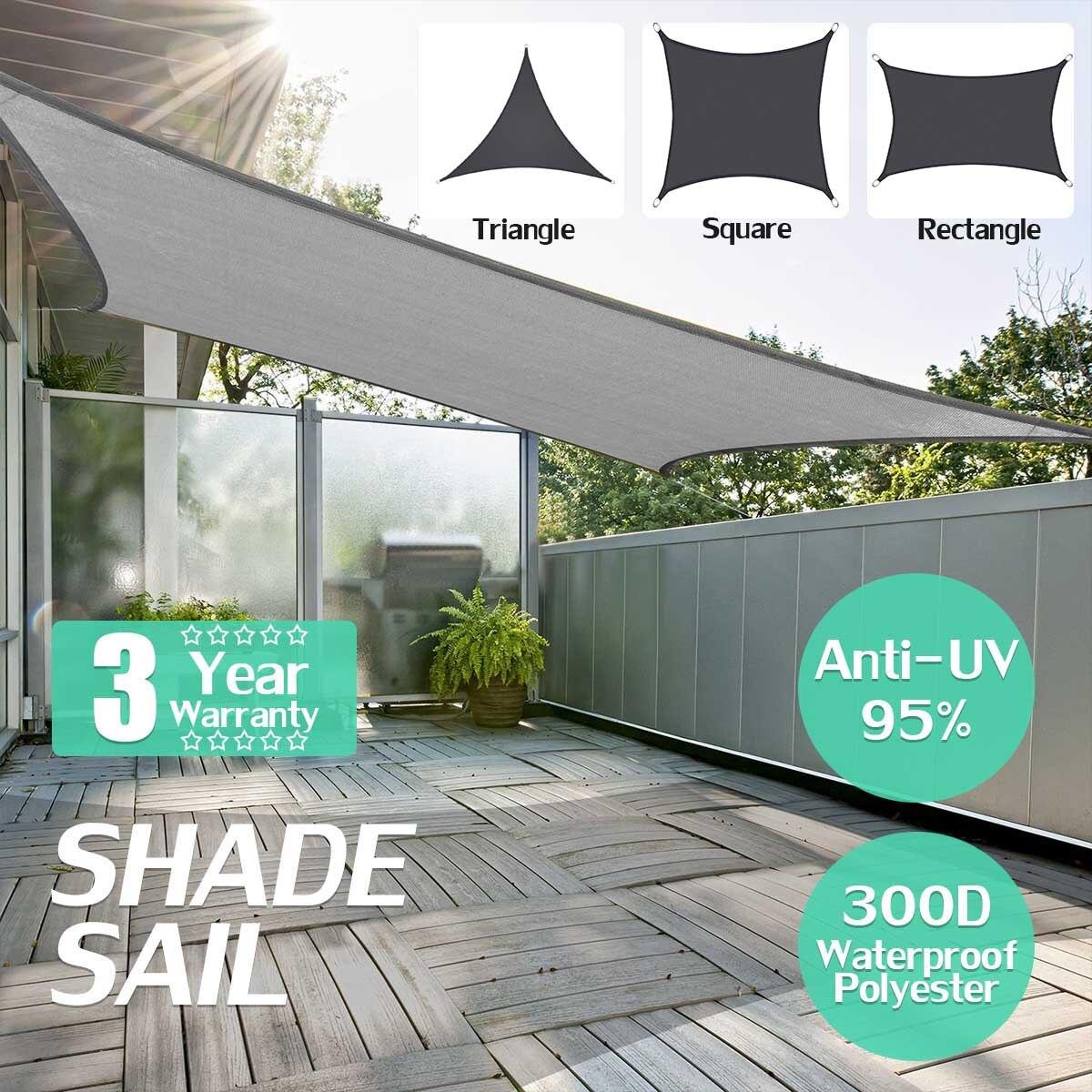 160GSM Grey High Density Polyethylene Farbic Rectangle 2x3/2x4m Retractable Sun Shade Shelter Outdoor Sun Shelter Sun Shade