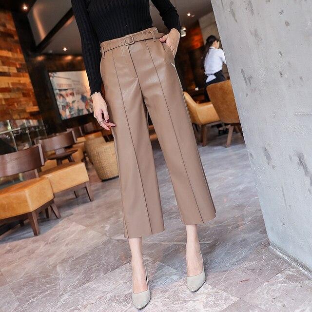 2019 Autumn Brand New Women PU Leather Pants Belted High Waist Faux Leather Ladies Trousers Winter Pants Wide Leg Pants Pantalon 2