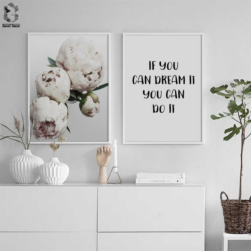 Scandinavian Life Quotes Nordic Canvas Wall Art Print Flowers Painting Decorative Posters  Picture for Living Room Decoration