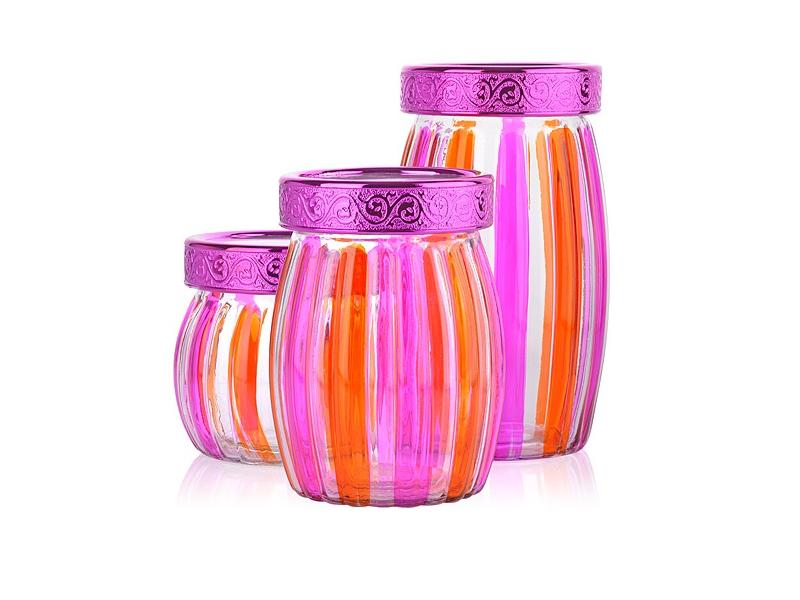 Набор банок для сыпучих продуктов MAYER & BOCH, 3 предмета, розовый набор банок для сыпучих продуктов rosenberg 3 предмета