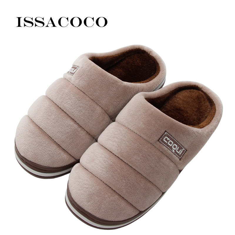ISSACOCO Men Shoes Cotton Men Slippers Warm Plush Winter Fur Lovers Slippers Soft Indoor Shoes Flat With Home Slippers Pantuflas fghgf shoes men s slippers mak