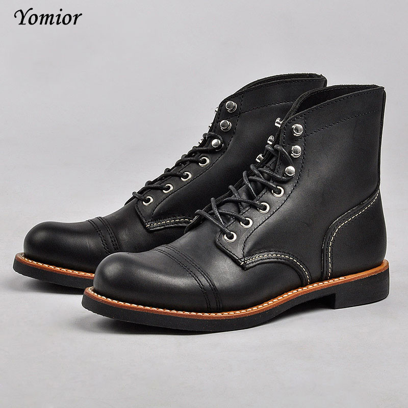 New Fashion Men Boots Handmade High Quality Wing Genuine Leather Business Wedding Boots Casual British Style Unisex Red Boots