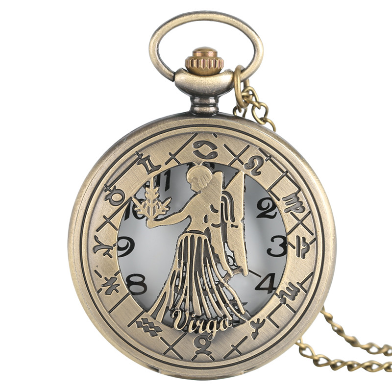 Lucky Bronze Virgo Pocket Watch Vintage Steampunk Style 12 Constellation Women's Mens Necklace Pendant With Chain Gifts Bag