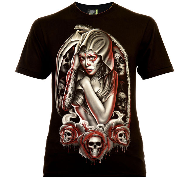 Santa Muerte With Sense Rock Eagle T Shirt Glow In The Dark La