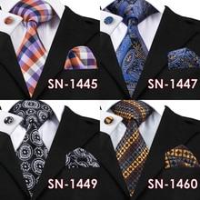 100% Silk Neckties Ties 40 Styles Gravata Hanky Cufflink Sets