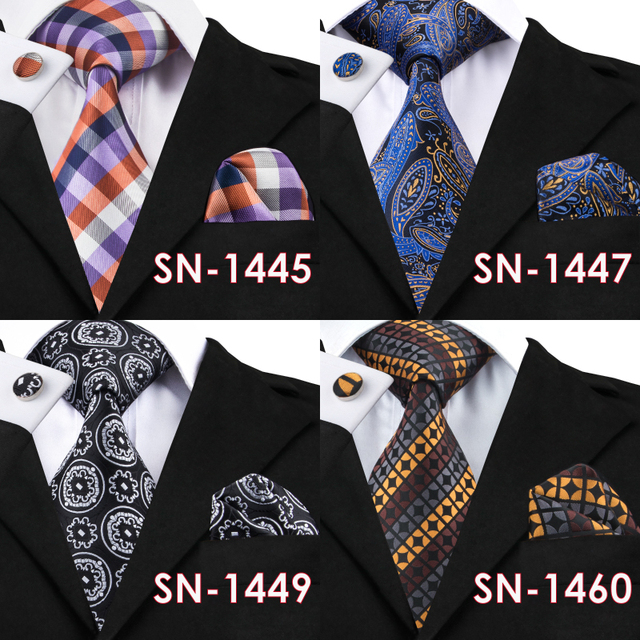 Hi-Tie 40 Styles 100% Silk Tie, Hanky and Cufflink Sets