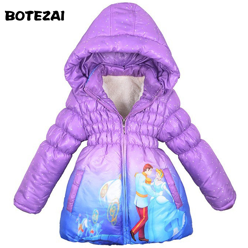2017 Children Coat Cinderella Baby Girls winter Coats full sleeve coat girl's warm Baby jacket Winter Outerwear Thick Hooded new children coat minnie baby girls winter coats full sleeve coat girl s warm baby jacket winter outerwear thick girl clothing