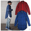 Red Plaid Shirts Men Kanye West High street Swag Fashion Shirts Turn Down Collar Cotton Camisetas Homme Side Zippers Design XXL