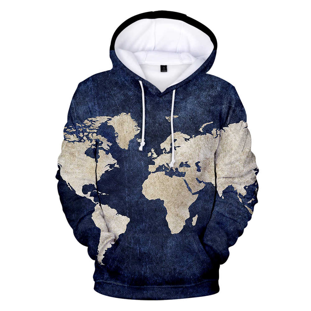 World Map Fashion 3d Printed Hoodies Men Women  Casual Long-sleeve Pullover