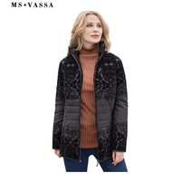 MS VASSA Women Jacket New Autumn fashion lady casual Winter jacket with flock turn down collar plus over size 6XL 7XL outerwear