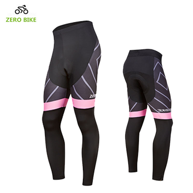 ZEROBIKE Hot Sale US Size Womens MTB Cycling Long Pants 4D Padded Coolmax Gel Bicycle Bike Fitness Tights Pants Clothing S-XL