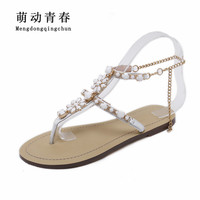 2018 Woman Sandals Women Shoes Rhinestones Chains Thong Gladiator Crystal Flat Heels Sandals Five Color Plus Size 46 2