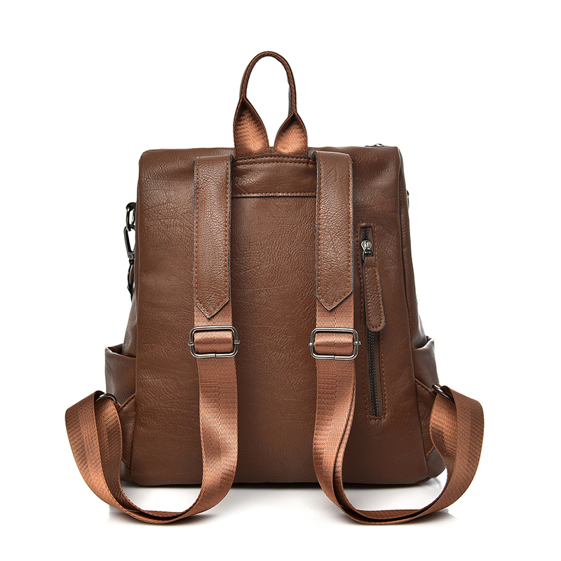 Saiten New Pu Leather Women Backpack Casual School Backpack For Teenager Girl Large Capacity Multifunction Backpack Mochil #5