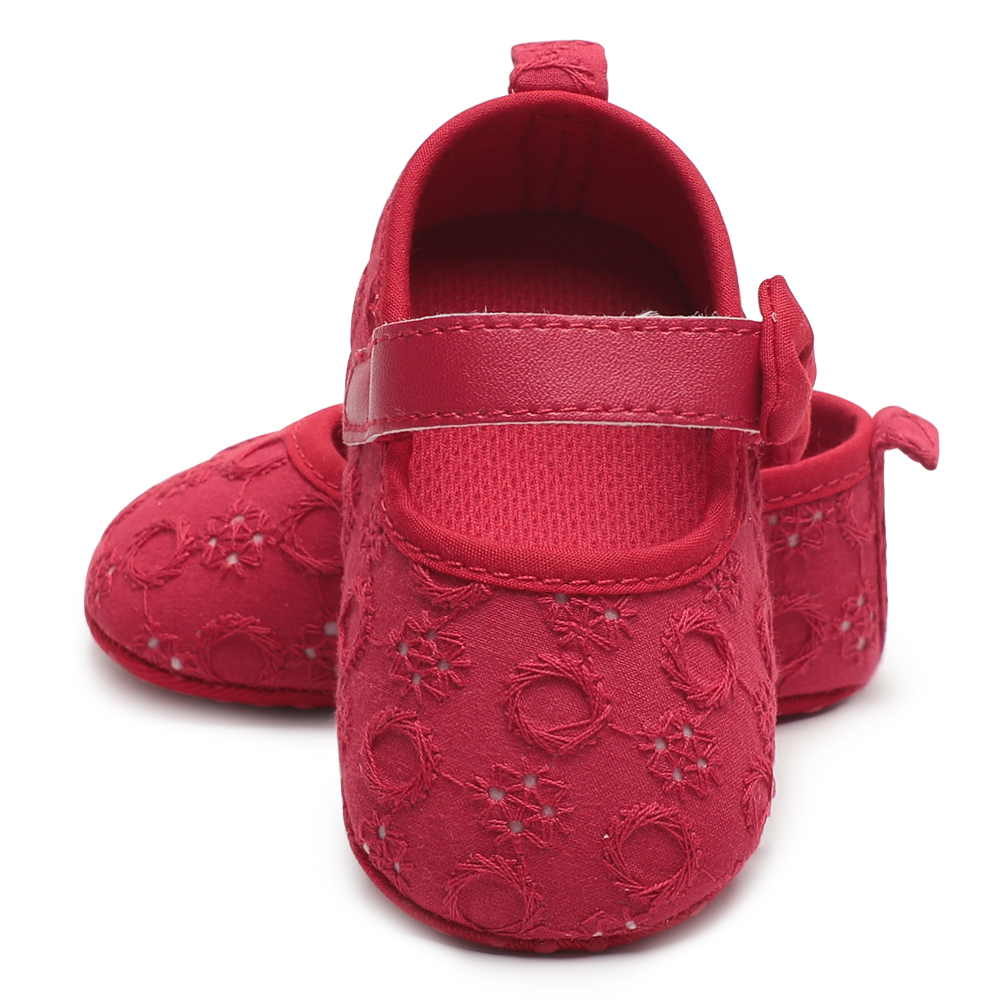Baby girl crib shoes new bron infant baby shoes bowknot soft sole bebe Slip-On Anti-slip footwear spring summer pink white red