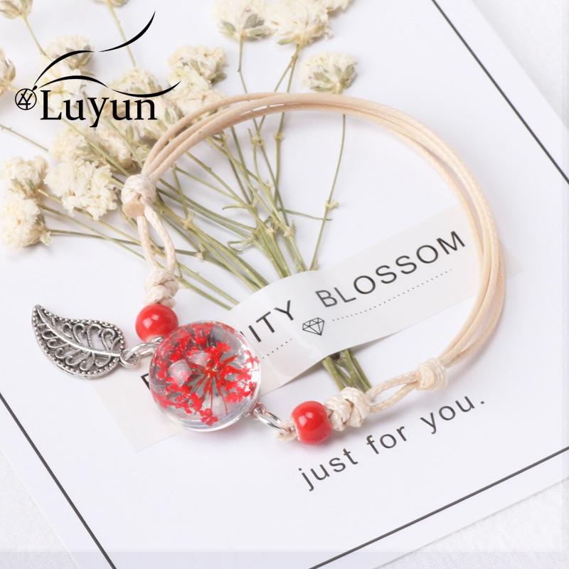 Luyun 2019 Hot New Fashion Plant Dried Flower Glass Beads Bracelet Boho Weave Wholesale