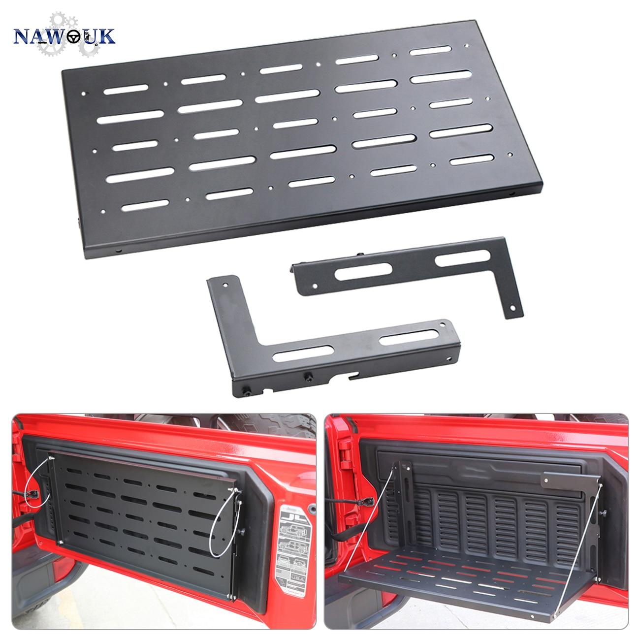 NAWOUK hayon Table Cargo étagère pour Jeep Wrangler JL JLU 2018 2019 porte Rack arrière coffre support porte bagages stockage Rack