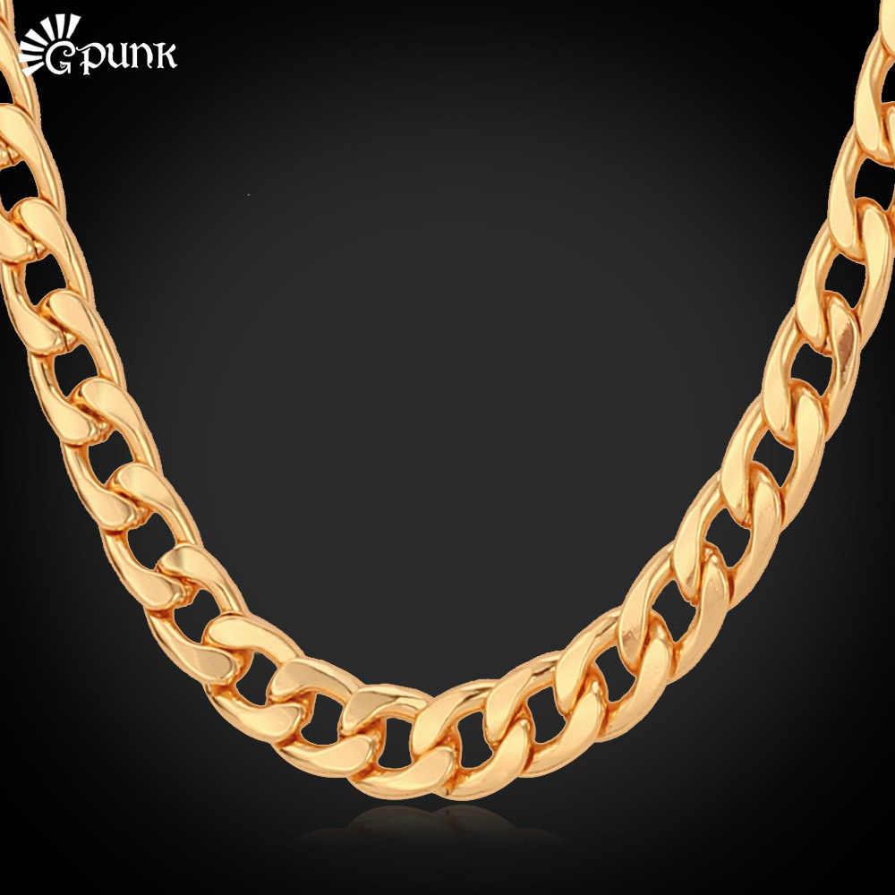 Ciężki łańcuch naszyjnik dla mężczyzn kubańska łańcuchy czarny/rose/złoty kolor biżuteria collier N409