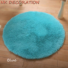 NK DECORATION Approx 100cm Blue Rug Plush Shaggy Soft Round Carpet Floor Rug Mat For Bedroom Parlor Living Room Home Supplies