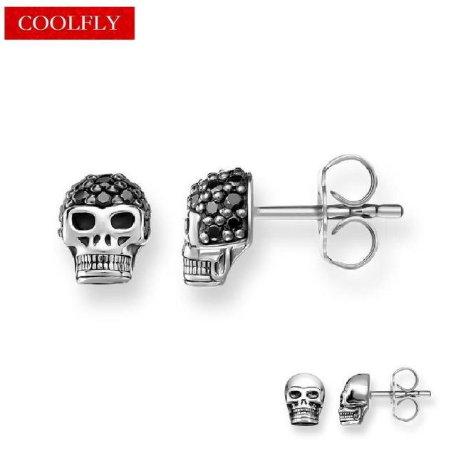 Viking Skull Stud Earrings Trendy Style Rebel Black Zirconia Vintage For Women Ts Fashion