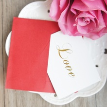 25pcs Mini love Card gold with red envelope leave message cards Lucky Love valentine Christmas Party Invitation Letter