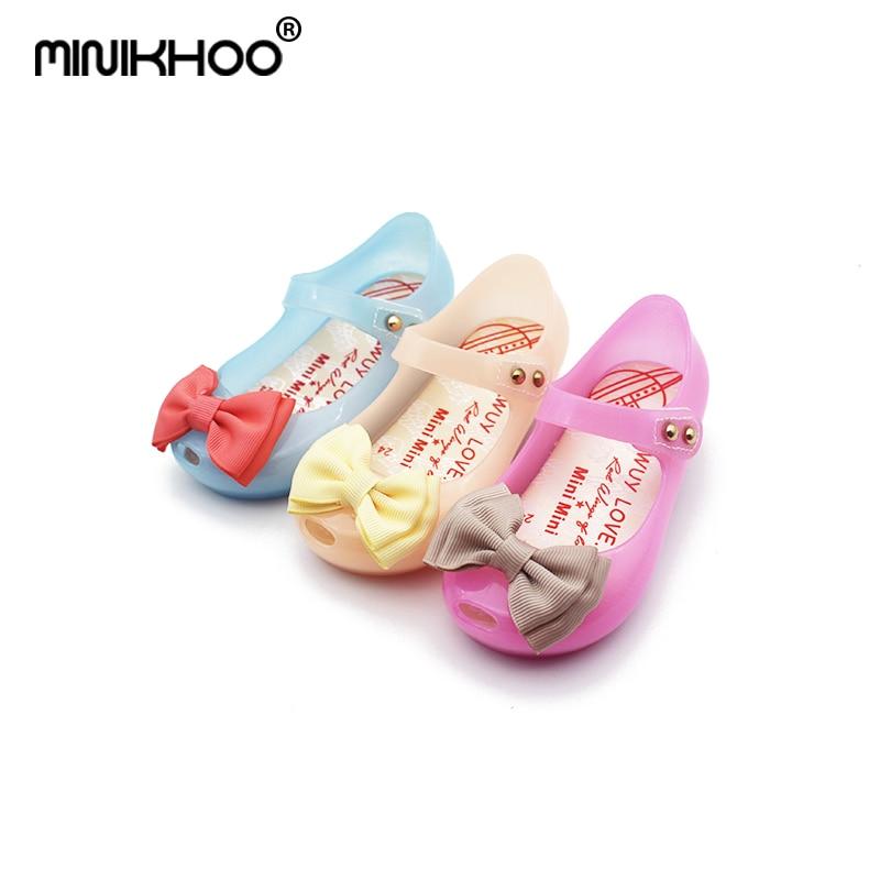 Mini Melissa 2018 HOT New Arrivals LED Light Girls Sandals Bow Kids Shoes Melissa Jelly Shoes LED Flash Sandals High Quality