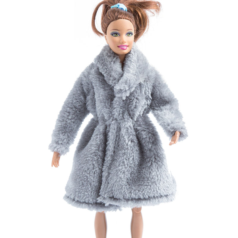 Fashion Blue Winter fur Coat leggings+Boots Clothes//Outfit  For 11.5in.Doll