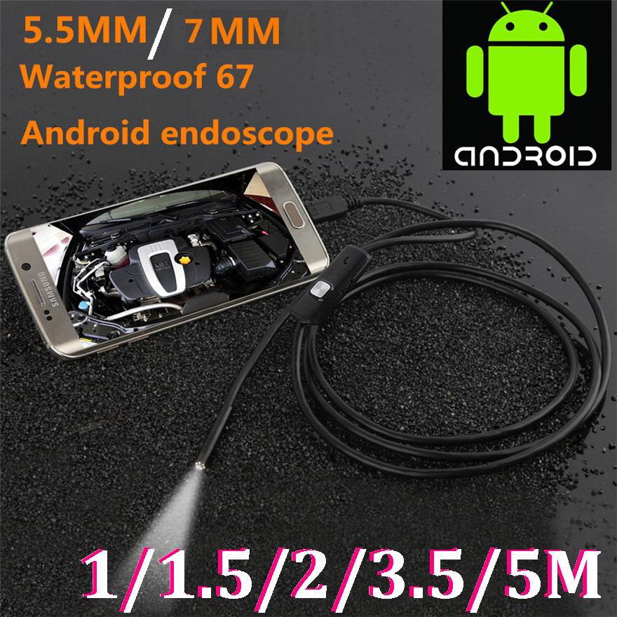 5.5MM Mini Usb android Inspection endoscope Camera Underwater Endoscopio Tube snake Micro-cameras For PC Android Phone car