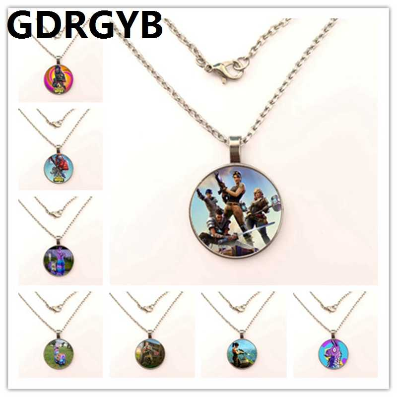 GDRGYB Ortnite battle royale fortress night Glass Necklace men and women Necklace Jewelry Pendant Necklace DIY customized photos