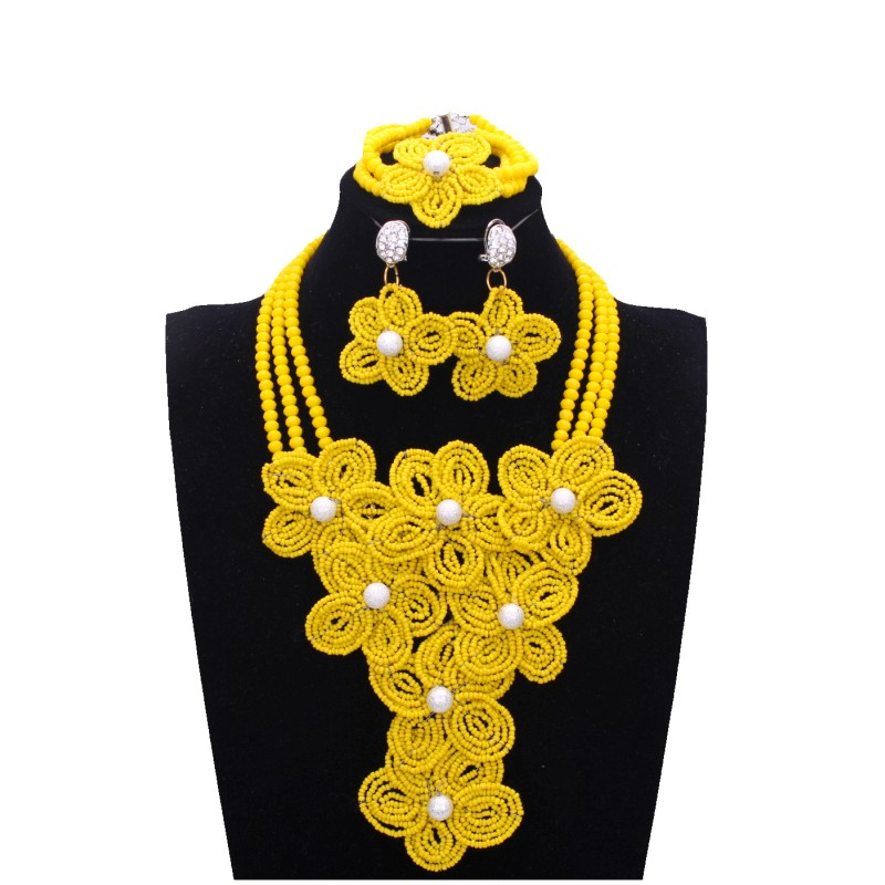Chunky Christmas Gift Wife Flat Rope Woman Statement Necklace Friend Necklace Yellow Necklace Sister Braided Collier Jaune