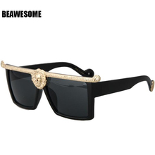 New Fashion Sunglasses Men Women Brand Gold 3D Lion Designer