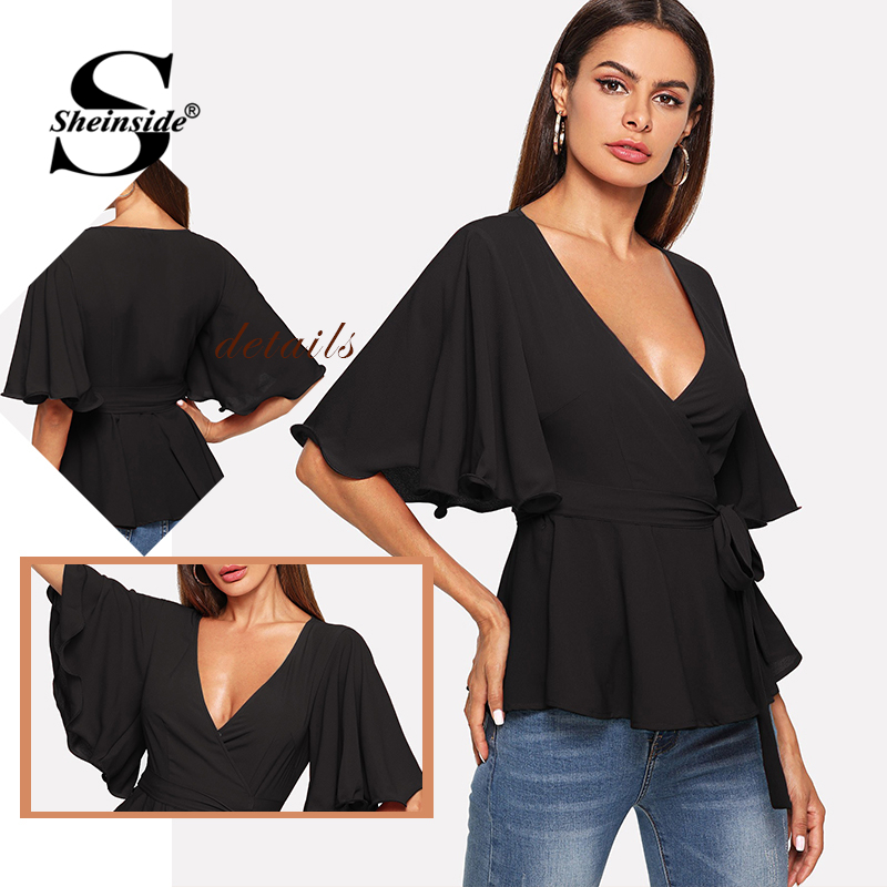 Sheinside Black V Neck Elegant Blouse Women Waist Belted Pleated Wrap Bell Sleeve Top 2019 Womens Tops Ladies Summer Blouses