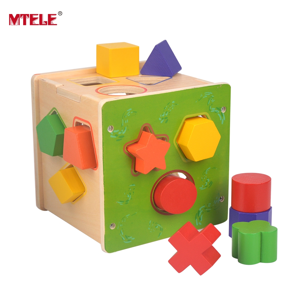 все цены на MTELE Brand Wooden Shape Sorting Cube Hole Cube For Shape Sorter Cognitive And Matching Wooden Baby's First Block Toy онлайн