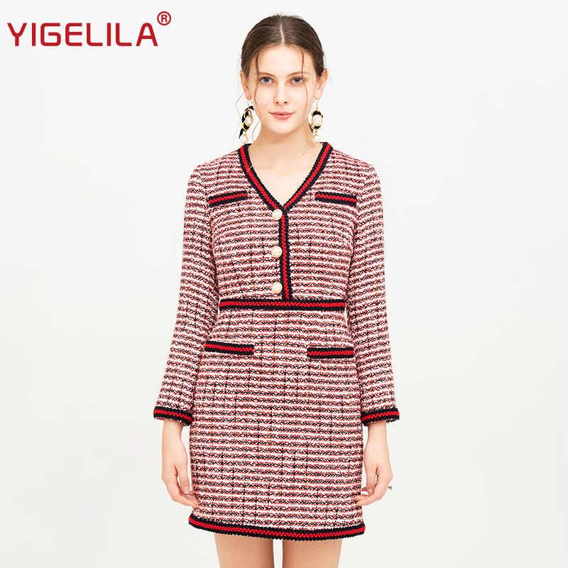 ee183e1a529 YIGELILA Модные женские осенние твидовые платья элегантные v-образный вырез  длинный рукав Империя Тонкие молнии