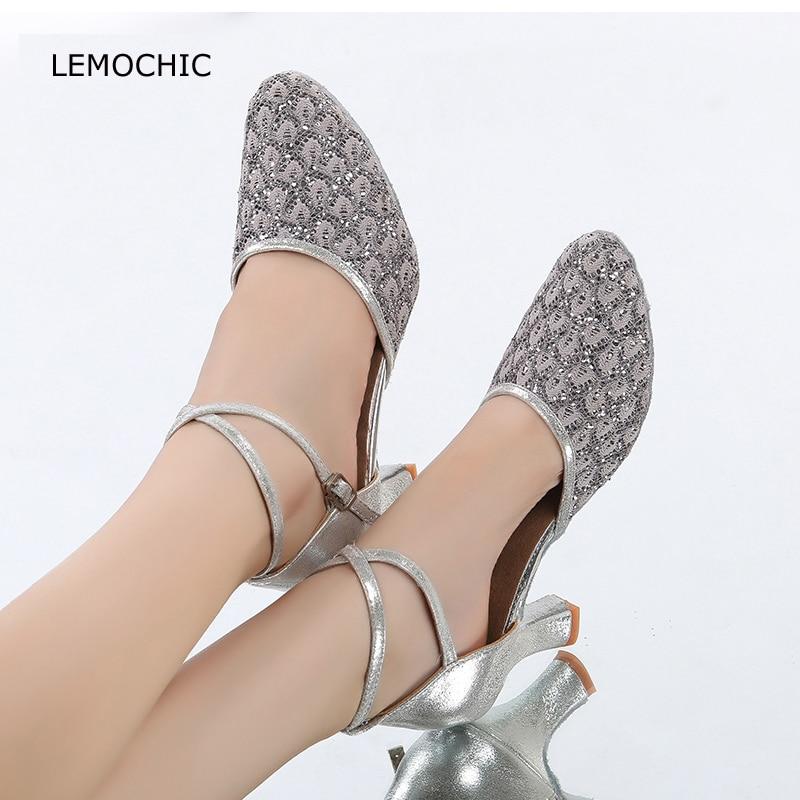 LEMOCHIC soft sole professional ballroom dancing latin cha-cha newest female models kitten heel comfortable clssical dance shoes