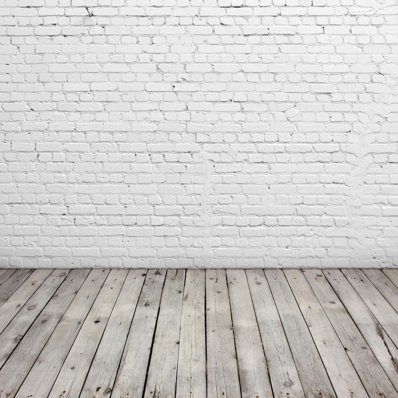 Laeacco White Brick Wall Wooden Floor Portrait Photography Backgrounds Customized Photographic Backdrops For Photo Studio polyester merry christmas room gifts photography backdrops for party photo studio portrait backgrounds props s 2626
