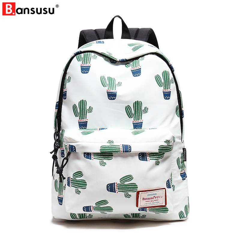 14-15.6 Inch Laptop Backpack Women Waterproof Cute Cactus Printing Book Bag  Female School Bagpack for ... 5175958458