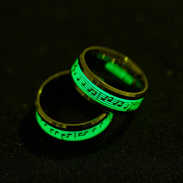 Stainless Steel Music Stave Luminous Ring Men Women Creative Glow in Dark Band C