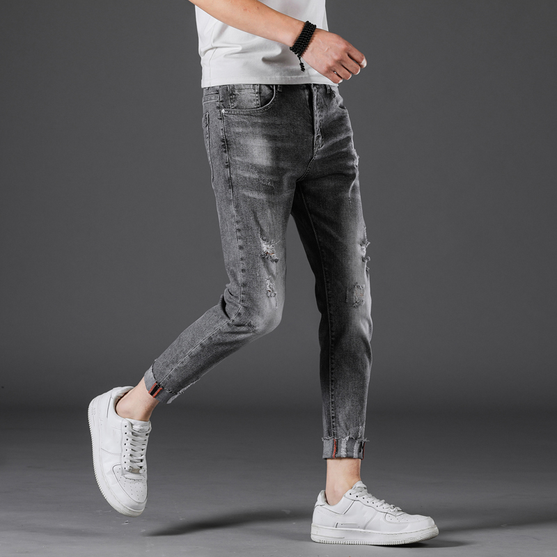 2019 New Fashion Men's Jeans Skinny Cropped Pants Elastic Light Blue Casual Denim Ripped Jeans Man D