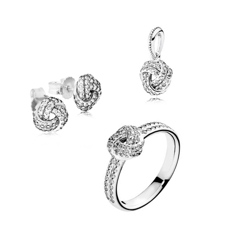 Étincelant amour noeud anneau pendentif boucles d'oreilles 100% 925 en argent Sterling clair Cz ensemble de bijoux pour les femmes cadeau bijoux fins PFS380