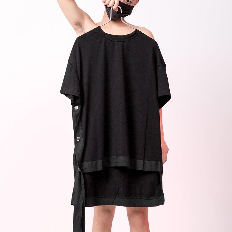 Quality Summer Drop shoulder Oversized t shirt men with ribbon Extended Short sleeve Black color