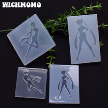 New 1PCS Sailor Moon Charms Craft DIY Transparent UV Resin Liquid Silicone Combination Molds for Earring Necklace Making Jewelry(China)