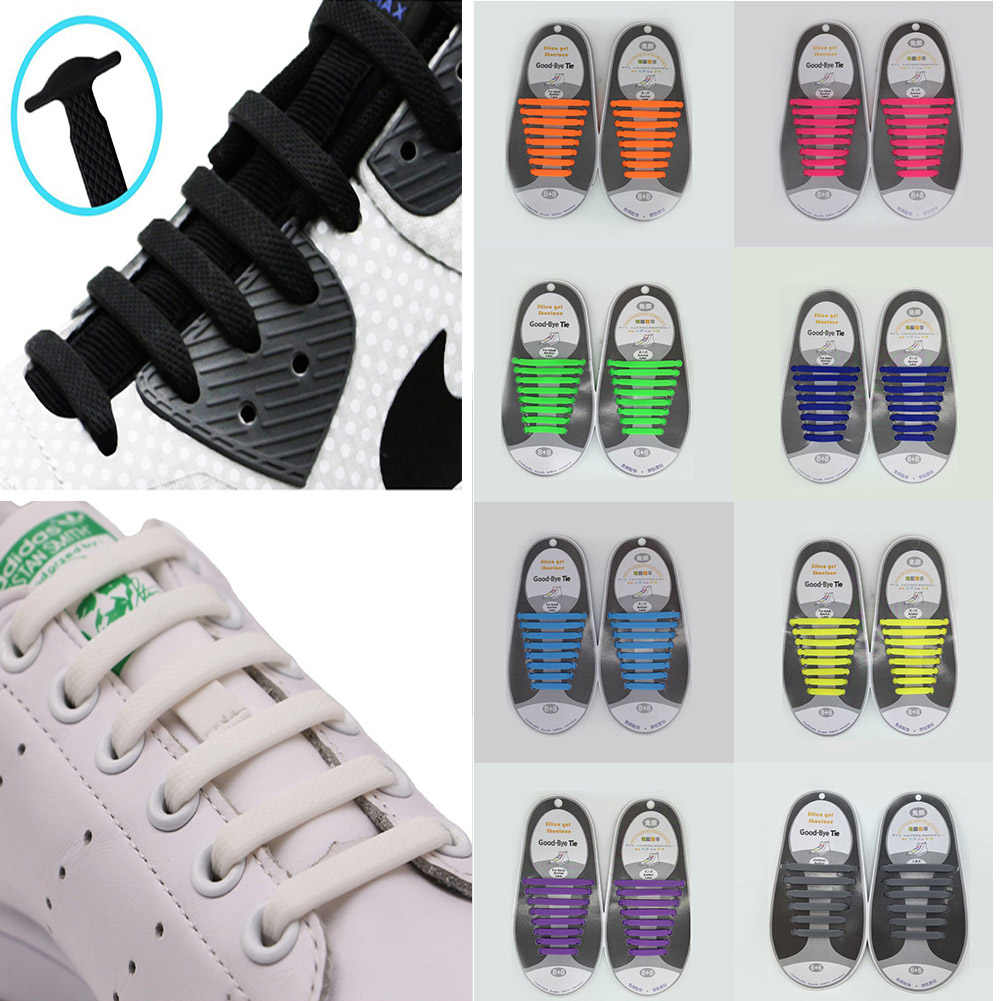 Шнурки без завязок для детей и взрослых (упаковка из 16 шт. силиконовые шнурки Vtie, работает во всех кроссовках) шнурки для обуви