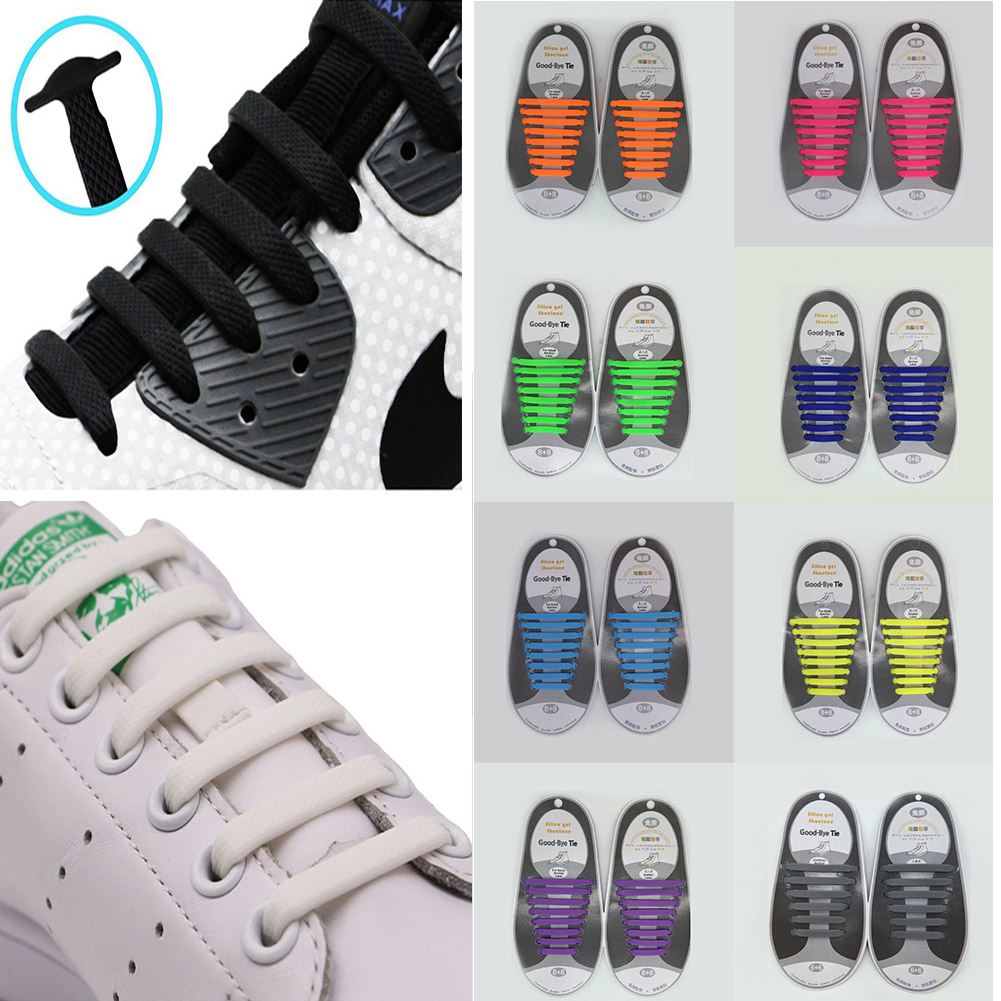 No Tie Shoelaces For Kids And Adults (Pack Of 16pcs Vtie Silicone Shoeslaces, Works In All Sneakers) Shoes Lace
