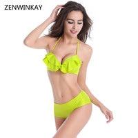 2017 Underwire Swimsuits Women Bandage Bikini Bandeau Push Up Ruffle Trikini Swimwear Trikini Swimwear Swim Suit
