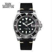 San Martin для женщин для мужчин автоматические часы модные сталь часы 200 м водостойкий Relojes Hombre 2018 повседневное Дайвинг спортивные часы новый